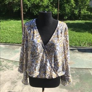 Sanctuary floral wrap top ,bell sleeves size small